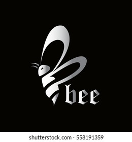 Letter B bee flying abstract logo template elements silver
