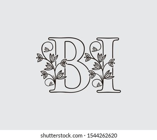 Letter B, I and BI Vintage Floral Logo Icon, overlapping monogram with hand drawn flower. Black color Logo on white background. Classy Letter Logo Icon.