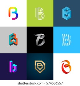 "Letter ""B"" big logo pack. Creative vector monograms. Eps10 format."