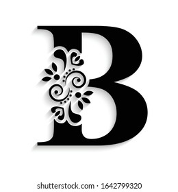 letter B. Black flower alphabet.  Beautiful capital letter with shadow