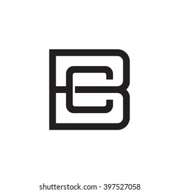 letter B and C monogram square shape logo black