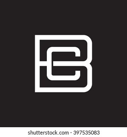 letter B and C monogram square shape logo white black background