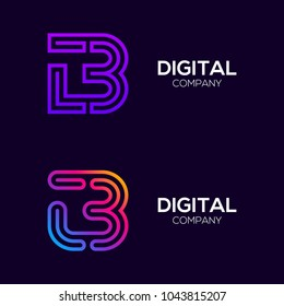 Letter B Colorful logotype with Three Line, Square and Circle shape Maze Labyrinth, Technology and Digital Connection Link concept for your Corporate identity