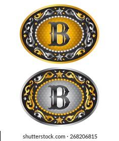 Letter B - Cowboy belt buckle - Alphabet vector design