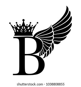 Letter B with Crown and Wings