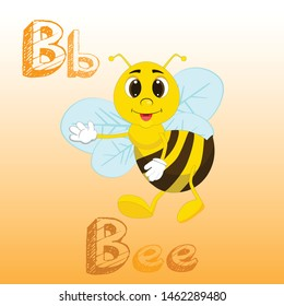 Letter B and cute bee cartoon. B for bee. English alphabet with animals. Cartoon character isolated on white background.