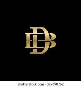 letter B and D monogram golden logo