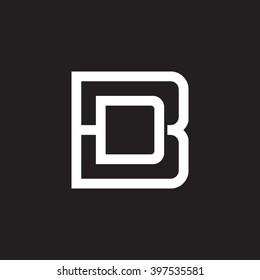 letter B and D monogram square shape logo white black background