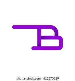 Letter B design typographic. unique and simple design with purple