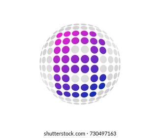 Letter B Dot 3D Sphere Icon Logo Design Element