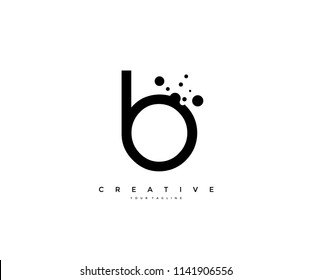 Letter B with dots shape logo design