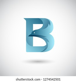 Letter B With Dove Logo Template. Creative and Elegant Logo design.