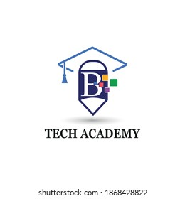 Letter B education and academy logo concept with pencil and toga hat for techno theme