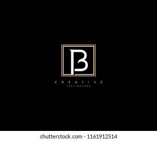 letter B elegant line square frame hipster logo design