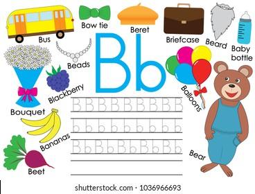 Letter B. English alphabet. Writing practice for children. Kids game. Vector illustration.