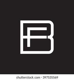 letter B and F monogram square shape logo white black background