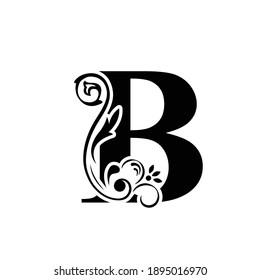 letter B. flower  letters. Vintage ornament initial Alphabet. Logo vector