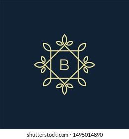 Letter B With a Flower/Leaf Frame for an inspiring logo design