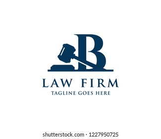 Letter B With Gavel For Law And Attorney Firm Logo Vector Design Template