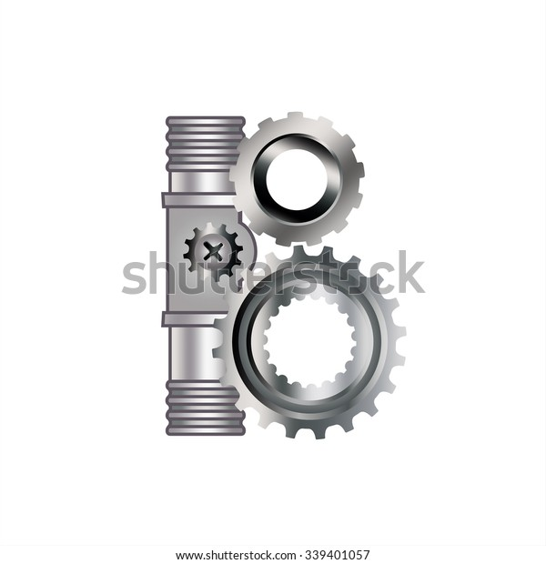 Letter B Gears Spare Parts Bolt Stock Vector (Royalty Free
