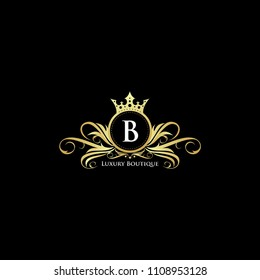 Letter B Gold Queen Luxury Design Logo