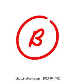 Letter B grade mark, red color test score illustration - Vector