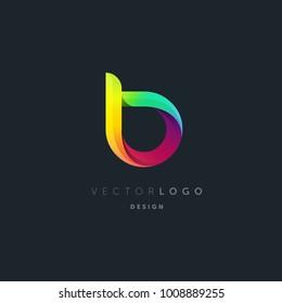 Letter B gradient 3d logo vector, multi colour letter icon template.