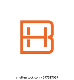 letter B and H monogram square shape logo orange