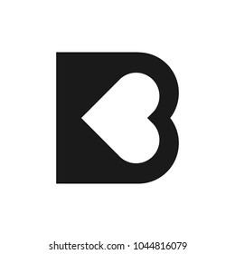 letter B with heart symbol. vector logo.