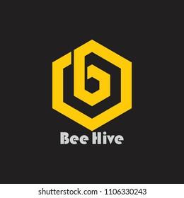 letter b hexagonal yellow bee hive design logo