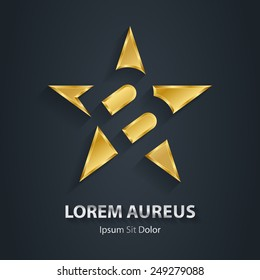 Letter B inside Gold star logo. Award 3d icon. Golden logotype template. Volume Vector illustration.