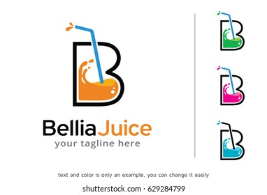 Letter B Juice Logo Template Design Vector, Emblem, Design Concept, Creative Symbol, Icon