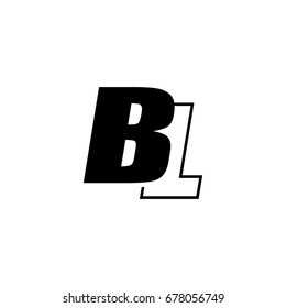 letter B and L logo overlapping black negative