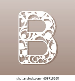 Letter B for laser cutting. English alphabet. Vector illustration.