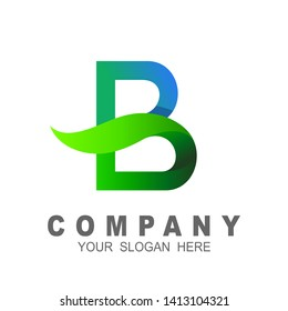 Letter b with leaf logo illustration, life icon, medical symbol, company logo with the initials letter b