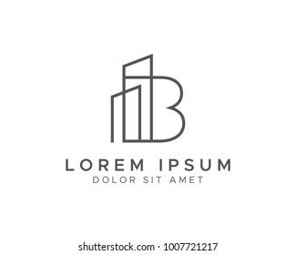 Letter B line building logo