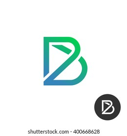 Letter B linear industry wire puzzle logo template. Also included in black and white color.
