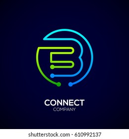 Letter B logo, Circle shape symbol, green and blue color, Technology and digital abstract dot connection