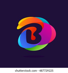 Letter B logo at colorful multicolor splash background. Negative space design. Vector elements for posters, t-shirts and cards.