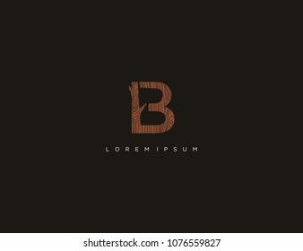 letter B logo design template. wood texture logo