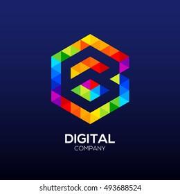 Letter B Logo Design.Hexagon logo,Polygon logo,Digital,Media