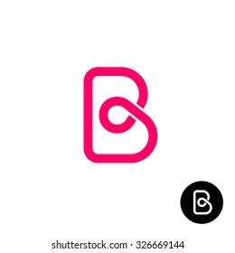 Letter B logo monoline wireframe style.