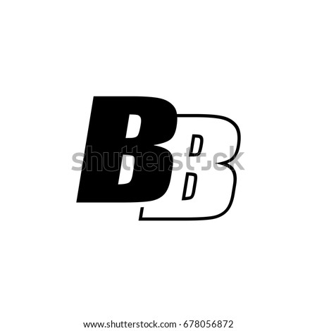 Letter B B Logo Overlapping Black Stock Vector Royalty Free