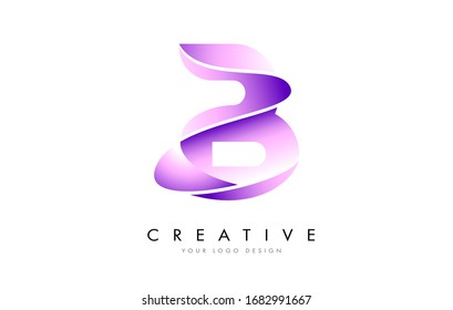 Letter B Logo with Satin texture and Fluid Look Vector Design.