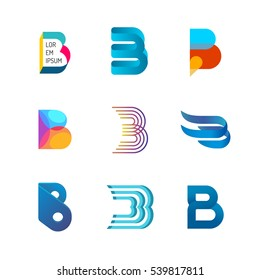 Letter B logo set. Color icon templates design. Set of colorful B letter symbols.