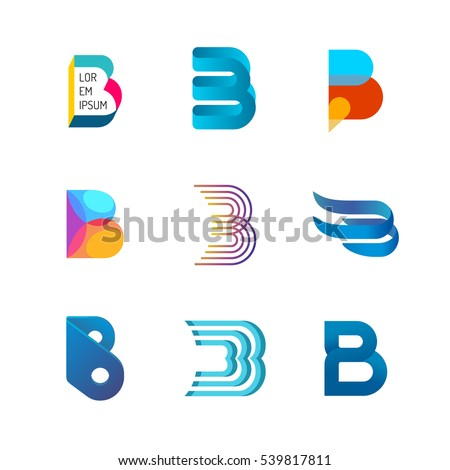 letter b logo set color icon のベクター画像素材 ロイヤリティフリー