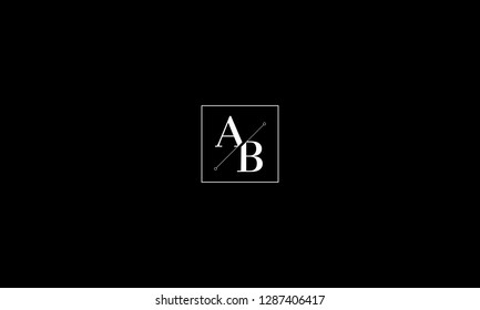 LETTER A AND B LOGO WITH SQUARE FRAME FOR LOGO DESIGN OR ILLUSTRATION USE
