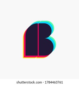 Letter B logo with stereo effect. Vibrant glossy colors font perfect to use in any disco labels, dj logos, electromusic posters, bright identity, etc.