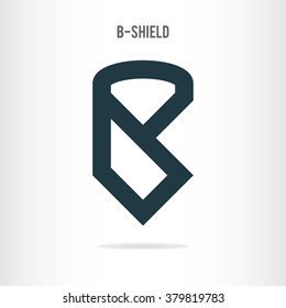 letter b logo template the letter b in the form of shield blue letter