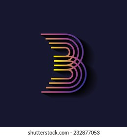 Letter B logo template. Parallel lines style with shadow.